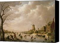 Ice-skating Canvas Prints - Skaters on a Frozen Canal Canvas Print by Hendrik Willem Schweickardt