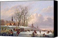 Skating Canvas Prints - Skaters on a Frozen River before Windmills Canvas Print by Dutch School
