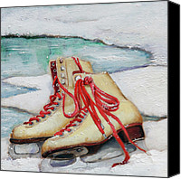Ice Skates Canvas Prints - Skating Dreams Canvas Print by Enzie Shahmiri