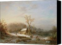 White River Scene Canvas Prints - Skating scene Canvas Print by Henri Cleenewerck