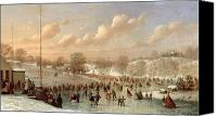 White River Scene Canvas Prints - Skating Scene Canvas Print by Johann Mongels Culverhouse