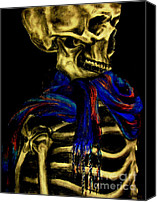 Creepy Pastels Canvas Prints - Skeleton Fashion Victim Canvas Print by Tylir Wisdom
