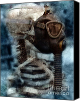 Ribs Canvas Prints - Skeleton in Gas Mask Canvas Print by Jill Battaglia