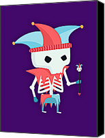 Purple Jester Digital Art Canvas Prints - Skeleton Canvas Print by Isaac Montemayor