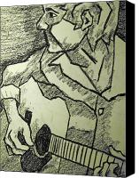 Black And White Pastels Canvas Prints - Sketch - Guitar Man Canvas Print by Kamil Swiatek