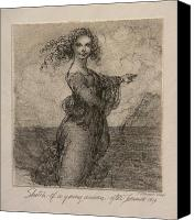 Figure Canvas Prints - Sketch of a Young Woman after Leonardo Canvas Print by Gary Kaemmer