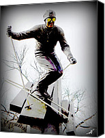 Skiing Prints Canvas Prints - Ski on the edge Canvas Print by Michelle Frizzell-Thompson