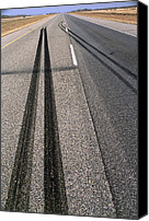 Braking Canvas Prints - Skid Marks Canvas Print by Alan Sirulnikoff