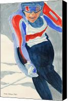 Skiing Prints Canvas Prints - Skier Canvas Print by Fred Jinkins