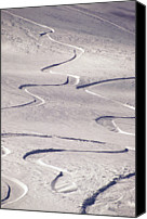 Outdoors Canvas Prints - Skiing Tracks Canvas Print by John Foxx