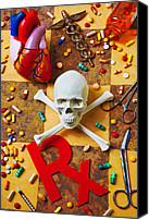 Scissors Canvas Prints - Skull and bones with medical icons Canvas Print by Garry Gay