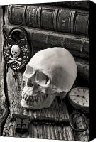 Skull Canvas Prints - Skull and skeleton key Canvas Print by Garry Gay