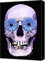 Rock Music Canvas Prints - Skull Art - Day Of The Dead 3 Canvas Print by Sharon Cummings