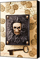 Skull Canvas Prints - Skull box with skeleton key Canvas Print by Garry Gay