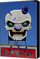 Creepy Canvas Prints - Skull Fun House Sign Canvas Print by Garry Gay