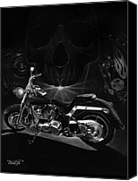 Black Drawings Canvas Prints - Skull Harley Canvas Print by Tim Dangaran