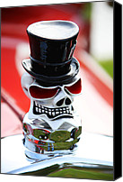 Hotrod Photo Canvas Prints - Skull with top hat hood ornament Canvas Print by Garry Gay