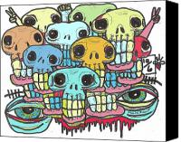 Neo Expressionism Canvas Prints - Skullz Canvas Print by Robert Wolverton Jr