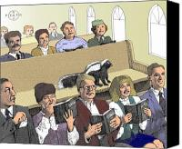 Gary Peterson Canvas Prints - Skunk Goes to Church - Sits In Own Pew Canvas Print by Gary Peterson
