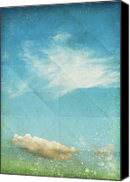 Color Mixed Media Canvas Prints - Sky And Cloud On Old Grunge Paper Canvas Print by Setsiri Silapasuwanchai