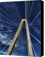 Charleston Sc Harbor Tours Canvas Prints - Sky Lines of Arthur Ravenel Jr Bridge Canvas Print by Dustin K Ryan