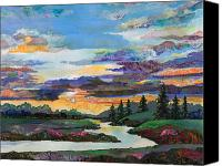 Sunset Mixed Media Canvas Prints - Sky Oasis Canvas Print by Marty Husted