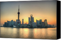 No People Canvas Prints - Skyline At Sunrise Canvas Print by Photo by Dan Goldberger