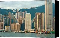 Peak One Canvas Prints - Skyline from Kowloon with Victoria Peak in the background in Hong Kong Canvas Print by Sami Sarkis