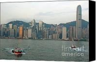 Peak One Canvas Prints - Skyline from Kowloon with Victoria Peak in the background Canvas Print by Sami Sarkis