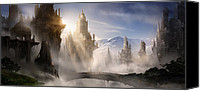 Concept Digital Art Canvas Prints - Skyrim Fantasy Ruins Canvas Print by Alex Ruiz