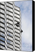 Worker Canvas Prints - Skyscraper Window-Washers - Take a walk in the clouds Canvas Print by Christine Till