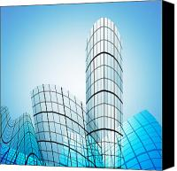 Illustration Canvas Prints - Skyscrapers In The City Canvas Print by Setsiri Silapasuwanchai
