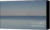 Florida Bridge Photo Canvas Prints - Skyway bridge in blue Canvas Print by David Lee Thompson