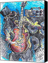 Slash Drawings Canvas Prints - Slash Distortion  Canvas Print by Jon Baldwin  Art