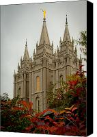 Lake Canvas Prints - SLC Temple Angle Canvas Print by La Rae  Roberts