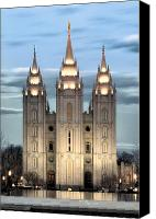 Church Photo Canvas Prints - SLC Temple Blue Canvas Print by La Rae  Roberts