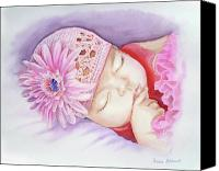 Pink Flower Canvas Prints - Sleeping Baby Canvas Print by Irina Sztukowski