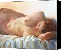 Art Nude Canvas Prints - Sleeping Figure Canvas Print by Pauline Adair