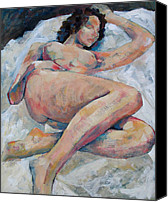 Nudes Canvas Prints - Sleeping Nude Canvas Print by Susanne Clark