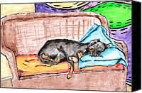 Cute Drawings Canvas Prints - Sleeping Rottweiler Dog Canvas Print by Jera Sky