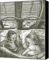 Storm Drawings Canvas Prints - Sleeping Through the Storm Canvas Print by Fremont Thompson