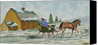 Horse Carriage Canvas Prints - Sleigh Ride Canvas Print by Charlotte Blanchard