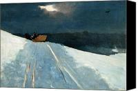 Snowy Night Painting Canvas Prints - Sleigh Ride Canvas Print by Winslow Homer
