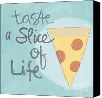 Yellow Mixed Media Canvas Prints - Slice of Life Canvas Print by Linda Woods