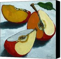 Red Canvas Prints - Sliced Apple still life oil painting Canvas Print by Linda Apple
