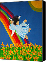 Pamela Allegretto-franz Canvas Prints - Sliding Down Rainbow Canvas Print by Pamela Allegretto
