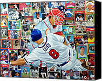Major League Baseball Painting Canvas Prints - Sliding Home Canvas Print by Michael Lee