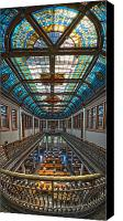 Library Canvas Prints - Slocum Hall Romanesque Arcade and Stained-glass Skylight Ohio Wesleyan University Canvas Print by Brian Mollenkopf