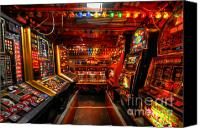 Lights Framed Prints Canvas Prints - Slot Machines Canvas Print by Yhun Suarez