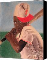 Baseball Pastels Canvas Prints - Slugger Canvas Print by Wil Golden
